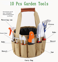 10-piece household garden tools kit: watering can pruning shears small rake small spade small saw small shovel garden gloves