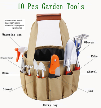 10-piece household garden tools kit: watering can pruning shears small rake small spade small saw small shovel garden gloves small