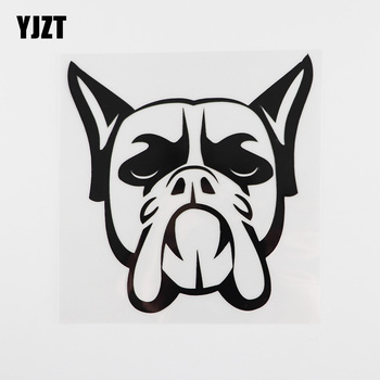 YJZT 13.8CMX14.3CM Funny Boxer Dog Head Vinyl Waterproof Car Sticker Black/Silver 8A-0014 image