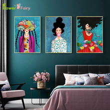Abstract Girl Hair Flower Bird Wall Art Canvas Painting Bubble Fish Nordic Poster Vintage Pictures For Living Room Unframed