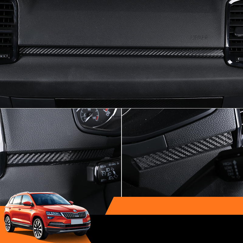 Lsrtw2017 Carbon Fiber Car Central Control Dashboard Window Control Sticker Trims for Skoda Karoq Interior Mouldings Accessories in Interior Mouldings from Automobiles Motorcycles