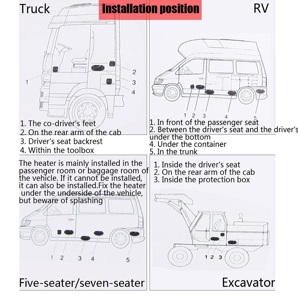 Réchauffeur d'air Diesel 12v 5KW chauffage ventilateur voiture chauffage déneigement & voiture verre dégivreur avec écran LCD + télécommande silencieux - 6