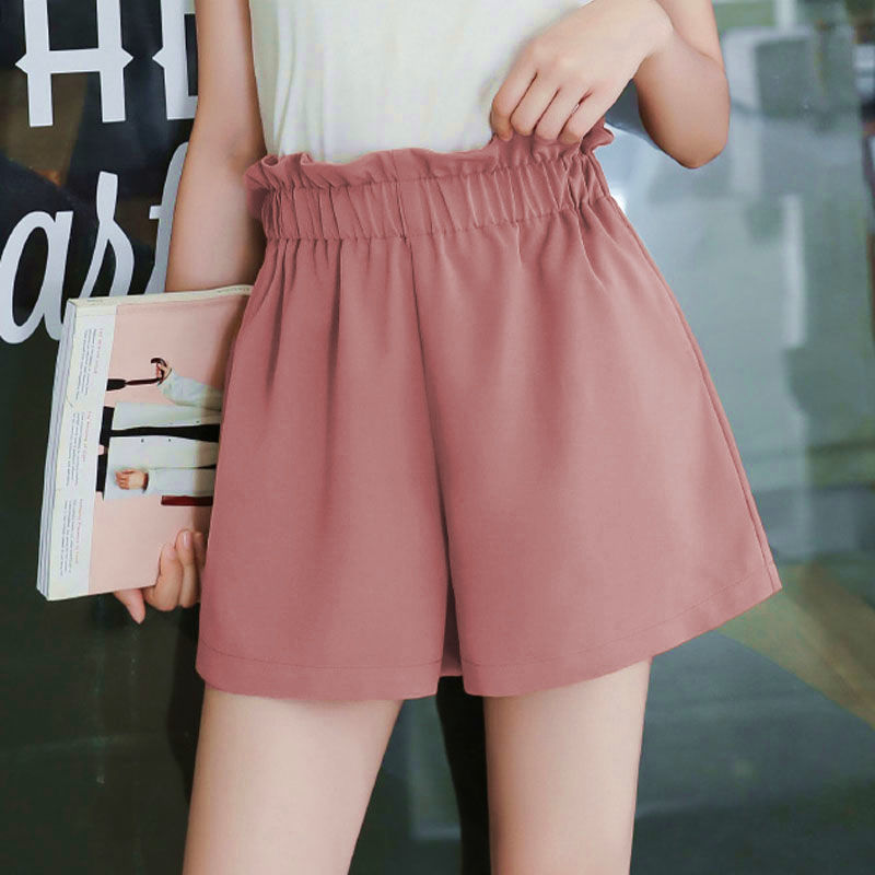 Women Shorts Summer Casual Solid Shorts Elastic High Waist Loose Shorts For Girls Soft Cool Female Short Plus Size