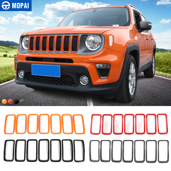 MOPAI Car Stickers for Jeep Renegade 2019+ Car Front Grille Cover Decoration Ring Accessories for Jeep Renegade 2019+ mopai lamp hoods for jeep renegade 2019 car front fog light lamp decoration cover for jeep renegade 2019 accessories