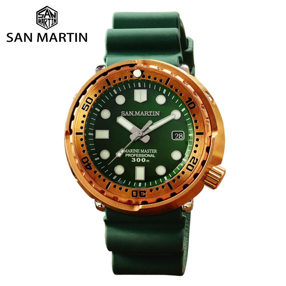 San Martin Tuna Bronze Men Watch Automatic Mechanical Sapphire Luminous 30 Bar Water Resistant Fluoro Rubber Strap Calendar часы