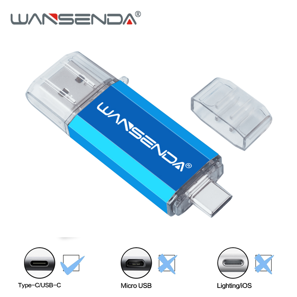 New WANSENDA 2 In 1 OTG USB Flash Drive USB3.0 & Type-C Pen Drive 16GB 32GB 64GB 128GB 256GB Pendrive USB Memory Stick
