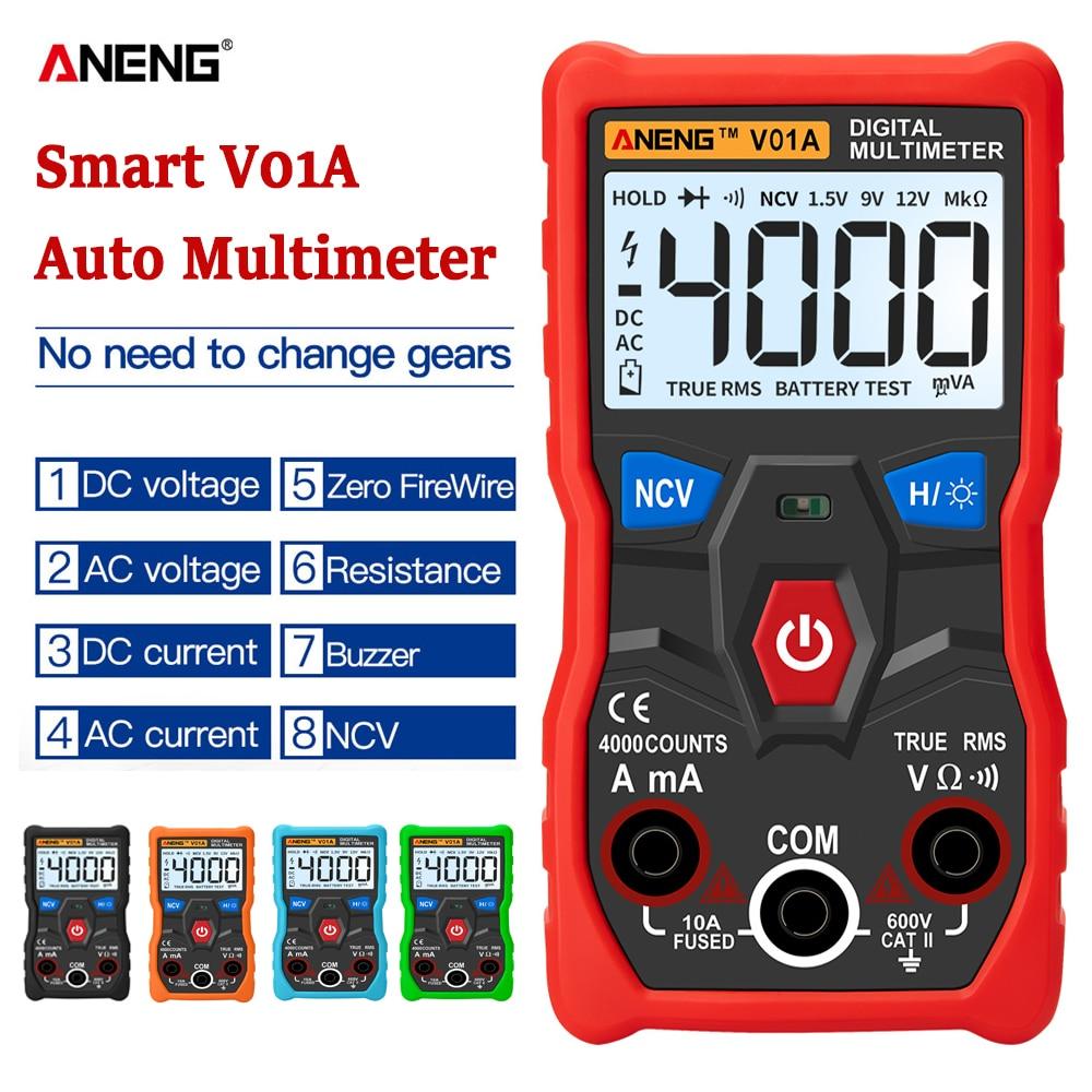 ANEG V01A цифровой мультиметр автоматический истинно RMS Интеллектуальный NCV 4000 отсчетов AC/DC напряжение тока Ом Тест Инструмент|Мультиметры|   | АлиЭкспресс