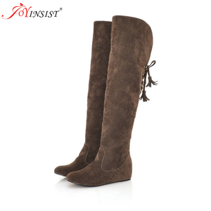 Image 2 - Warm Winter Boots Grinding Flat With Higher in Female Boots c86 Knee high Boots Big Yards