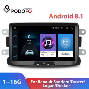 Podofo 2din Android 8.1 Car Radio 8'' HD Car Stereo Video WIFI GPS Car Multimedia Player For Renault Sandero/Duster/Logan/Dokker image