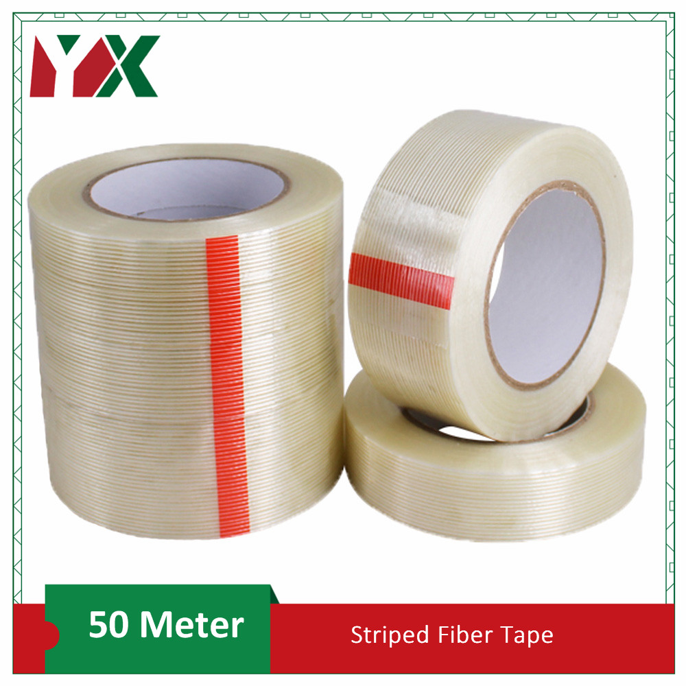 50M Strong Glass Fiber Tape Transparent Striped Single Side Adhesive Fiberglass Tape Industrial Strapping Packaging Fixed Seal