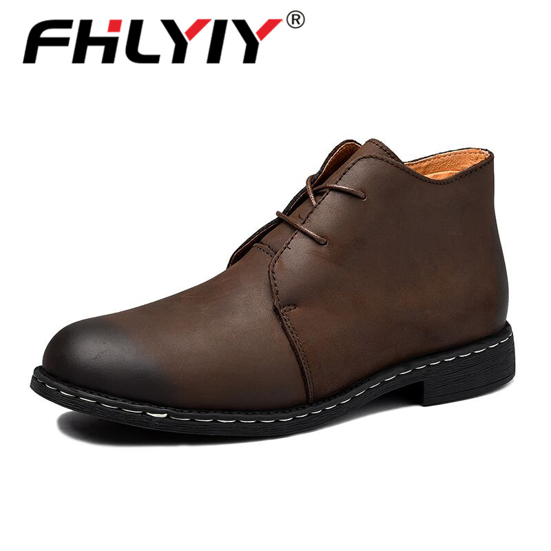 Fhlyiy Brand New Winter Warm Fur Men Boots Big Size 38-47 Vintage Motorcycle Boots Men Shoes Genuine Leather Snow/Ankle Boots