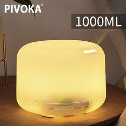 PIVOKA 1000ml nawilżacz powietrza rozpylacz zapachów do olejku aromaterapia ultradźwiękowy nawilżacz powietrza o dużej pojemności Mist Maker w Nawilżacze powietrza od AGD na