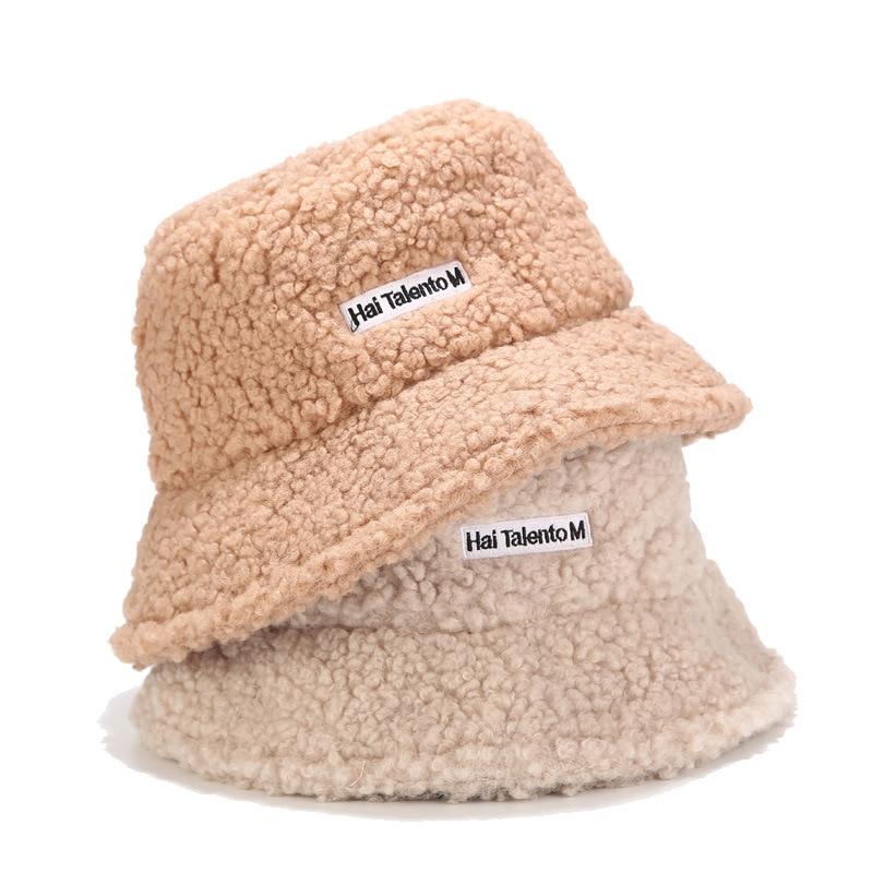 High Quality Solid Artificial Fur Warm Female Cap Faux Fur Winter Bucket Hat For Women Outdoor Sunscreen Sun Hat Panama Lady Cap