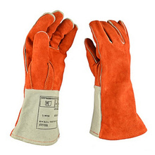 Leather Welding Gloves Cowhide Long High Temperature Heat Insulation Safety Shield Guard Durable Protection Welder Glove XL