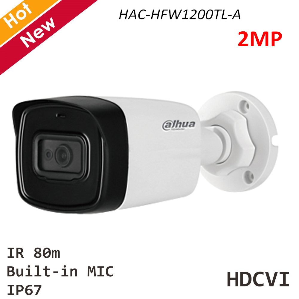 Dahua Security Camera HAC-HFW1200TL-A 2MP HDCVI IR Bullet Camera Built-in MIC IR 80m 3.6mm 2.8mm 6mm Waterproof HDCVI Camera