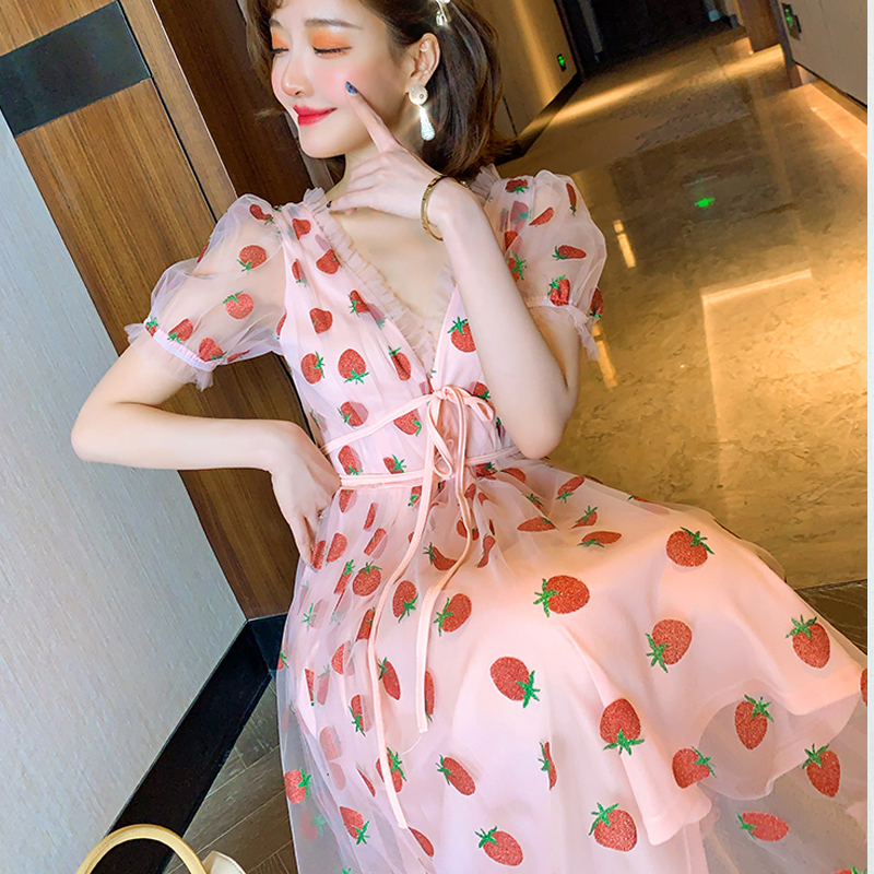 Runway Rhinestone Diamonds Strawberry Pink Mesh Maxi Dress Women Short Puff Sleeve Sexy V-neck Lace-up Bow Tunic Lolita Dress (22)