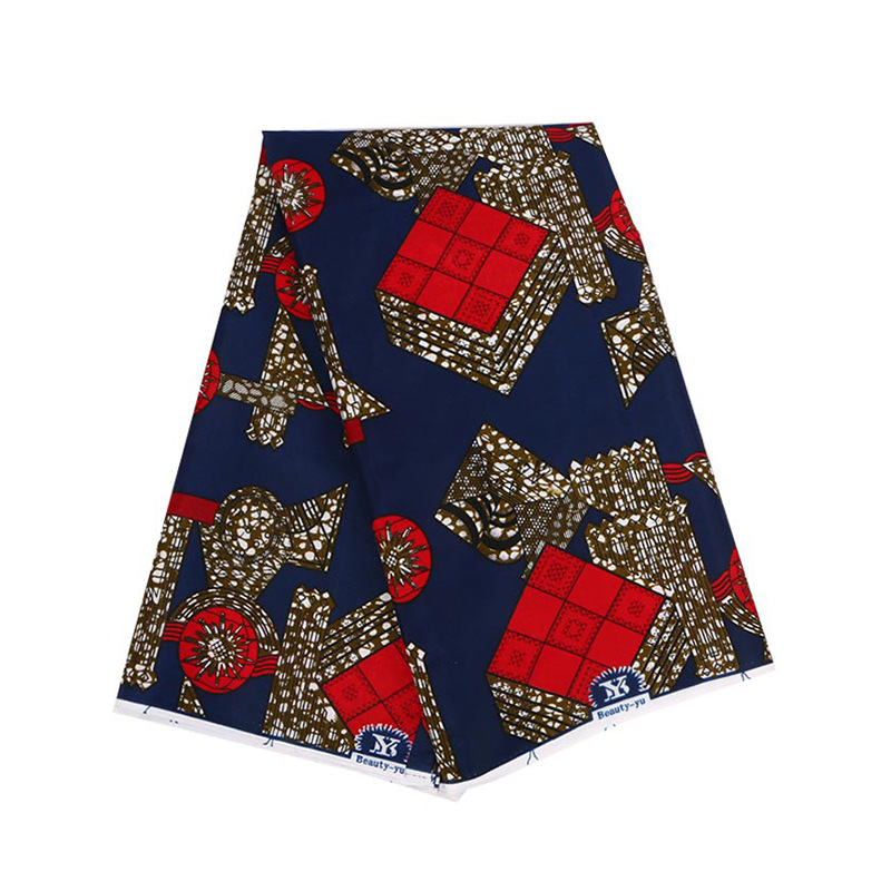 100% Polyester Navy Blue Color Red Pattern Print Fabric African Pagnes Veritable Guaranteed Dutch Real Wax Printed Fabric