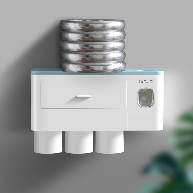 ONEUP New Toothbrush Holder Automatic Toothpaste Dispenser With Cup Wall Mount Toiletries Storage Rack Bathroom Accessories Set 6