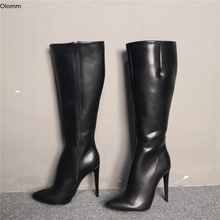 Casual-Shoes Boots High-Heels Pointed-Toe Knee Us-Size Black Women Winter New-Fashion