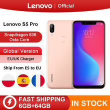 Global Version Lenovo S5 Pro 6GB 64GB Snapdragon 636 Octa Core Smartphone 20MP Quad Cameras 6.2 Inch Octa Core 4G Cellphone