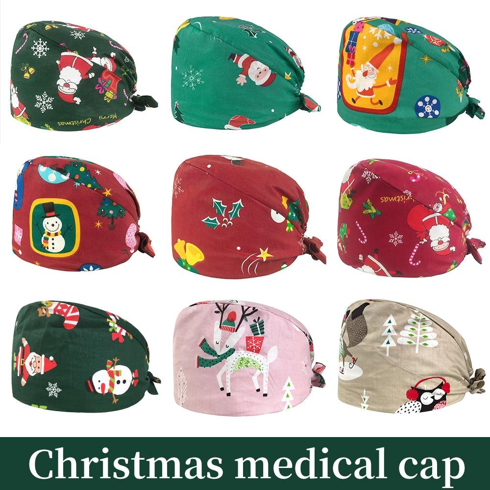 Cotton Medical Surgery Caps Adjustable Surgical Hats Pet Hospital Doctor Working Hats Laboratory Unisex Pharmacy Nursing Caps