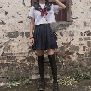 Orthodox White Schoolgirl Uniform Japanese Korean Class Navy JK Sailor Skirts Students Kawaii Long Sleeve Shirt Anime Cosplay