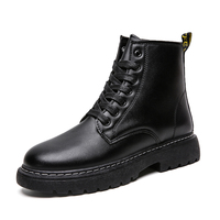 Boots Men Boots Leather Ankle Lace up military boots caterpillar Black Outdoor work fashion shoes