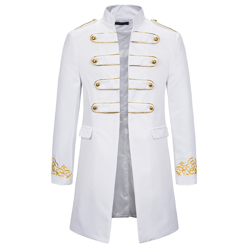White Stand Collar Embroidery Blazer Men Military Dress Tuxedo Blazer Men Suit Jacket Nightclub Stage Cosplay Blazer Masculino
