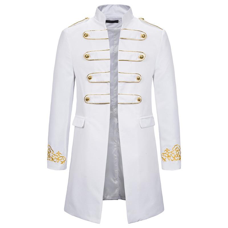 White Stand Collar Embroidery Blazer Men Military Dress Tuxedo Blazer Men Suit Jacket Nightclub Stage Cosplay Blazer Masculino