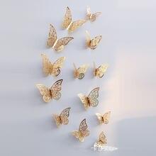 12 шт/компл 3d наклейки на стену полые бабочка для детских комнат