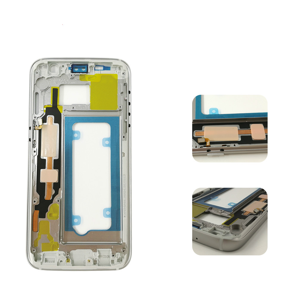 Original Middle Frame For Samsung S7 G930 G930F Mid Bezel Metal Frame Housing Chassis with Side Key Replacement Parts image