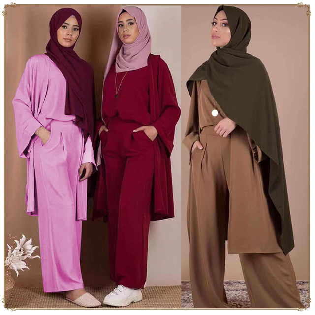 Three Pieces Muslim Sets Great Quality Islamic Tops+ Pants Outerwear Suits Fashion Simple Fresh Muslim Lace Dress Suits Wq2595