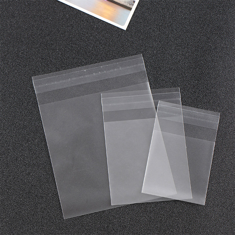 100pcs/Plastic Scrub Transparent Cellophane Candy Cookie Bags Wedding Birthday Party With DIY Self Adhesive Bag For Party