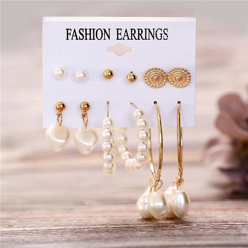 H8f0078a08fbb45be94d338351ba5aae50 - IF ME Fashion Vintage Gold Pearl Round Circle Drop Earrings Set For Women Girl Large Acrylic Tortoise shell Dangle Ear Jewelry