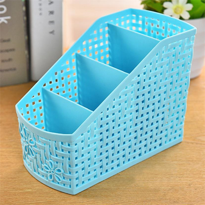 Box Holder Case Organizer Storage-Basket Table Desk 4-Grids Hollow-Out-Design -Ju