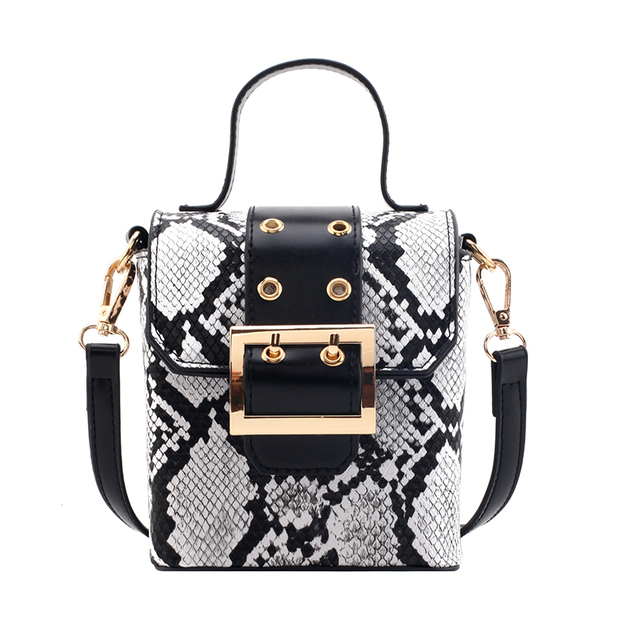 Serpentine PU Leather Crossbody Bags For Women 2019 Fall Mini Shoulder Messenger Bag Female Box Luxury Handbags and Purses