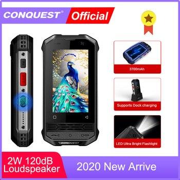 Перейти на Алиэкспресс и купить CONQUEST 2020 прочный смартфон F2 Роскошный мини IP68 Ударопрочный водонепроницаемый телефон Android NFC маленький F2 мобильный сотовый телефон