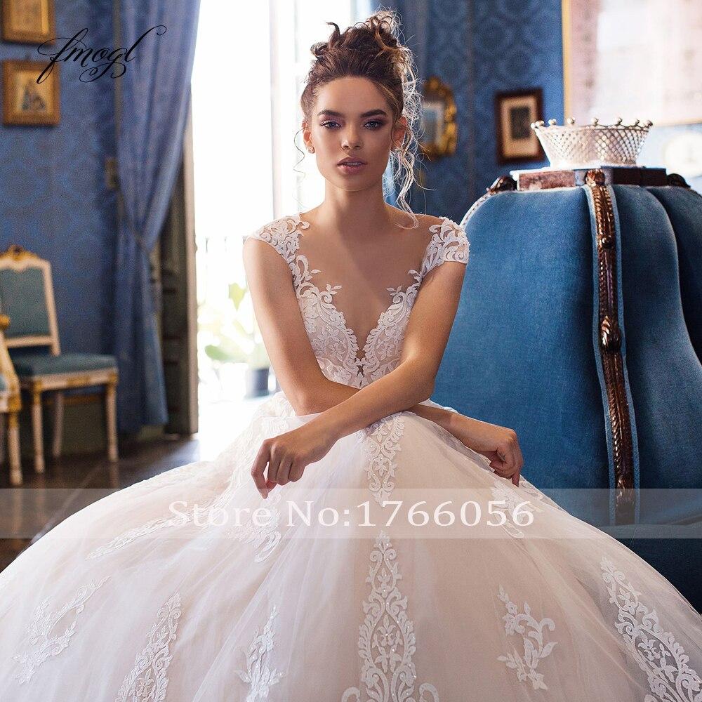 Image 3 - Fmogl Sexy Illusion Scoop Neck Lace A Line Wedding Dresses 2020 Luxury Appliques Cap Sleeve Court Train Vintage Bridal GownsWedding Dresses   -