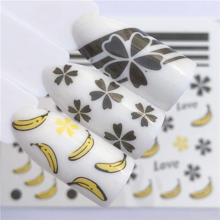 Yzwle Nail Sticker Watermark Nail Sticker Smiley Banana Five-pointed Star Hualu Christmas Manicure Flower Stickers