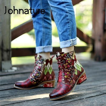 Johnature Platform Boots Women Shoes Genuine Leather Cross-tied 2020 New Winter Zip Square Heel Hand-painted Leisure Ankle Boots