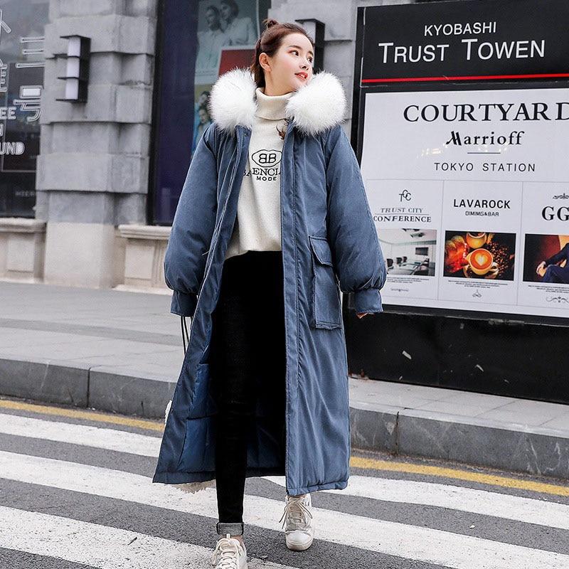 Famosa marca de alta calidad de tela de piel de melocotón sección larga de algodón de mujer sobre la rodilla engrosamiento holgado invierno abajo chaqueta de las mujeres - 4