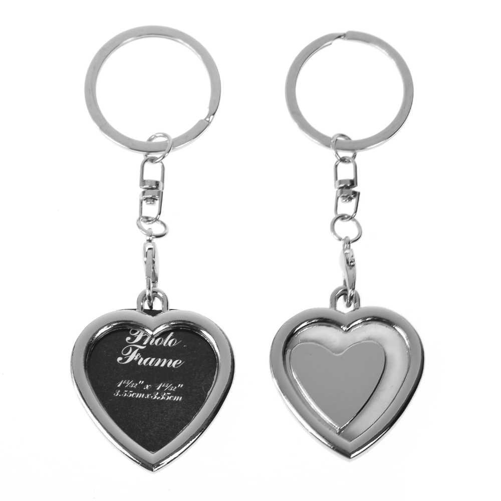 โลหะผสมแทรกภาพบุคคลกรอบรูป Heart Square Apple Shaped Key แหวนพวงกุญแจ FOB Love Crafty ของขวัญ