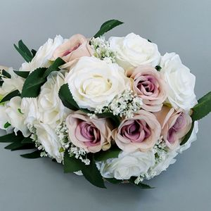 Image 4 - Romantic Wedding Bridal Waterfall Bouquet Artificial Rose Flowers with Ribbon