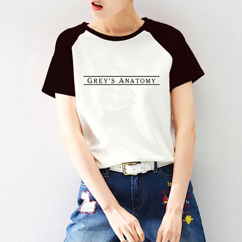 2020 Summer Womens Raglan Short Sleeve Greys Anatomy T Shirt Women Clothes Letter Print Vogue Tshirt Harajuku Tees