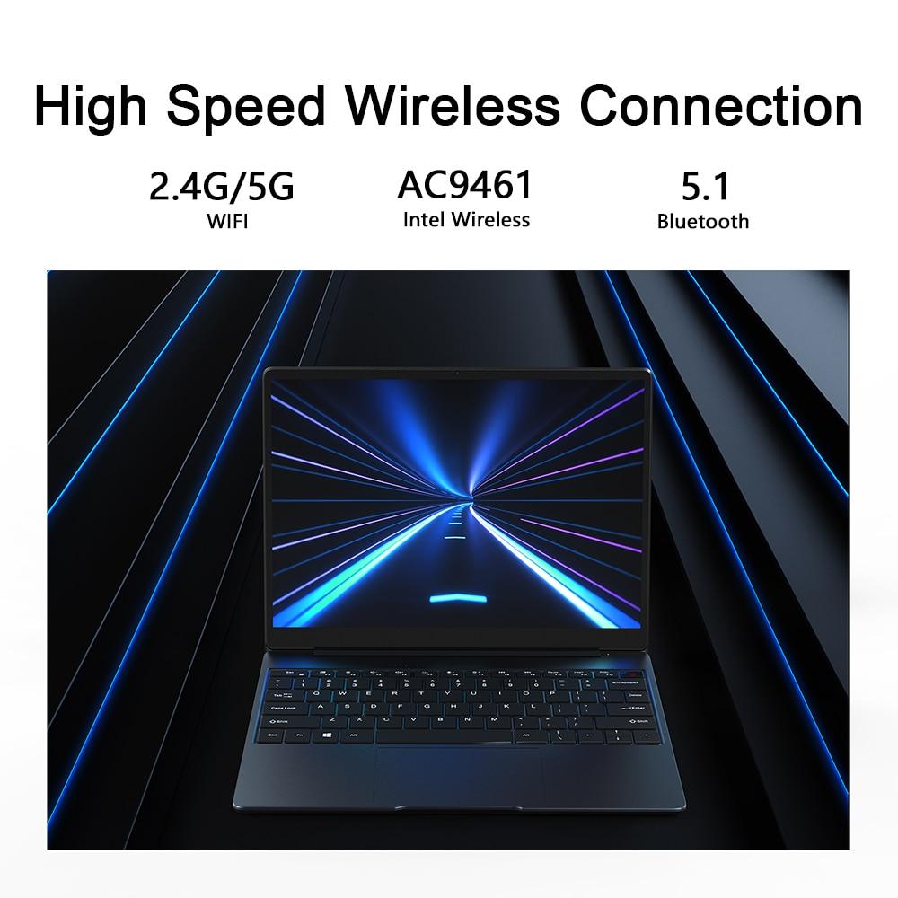 "Chuwi gemibook 13 ""2k ips tela lpddr4x 12gb 256gb ssd intel celeron quad core windows 10 portátil com teclado retroiluminado 6"
