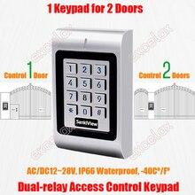 2 двери, двойное реле AC DC 12 в 28 в, Водонепроницаемая клавиатура контроля доступа IP66 Открытый RFID 125 кГц EM кард ридер электронный замок открывалка