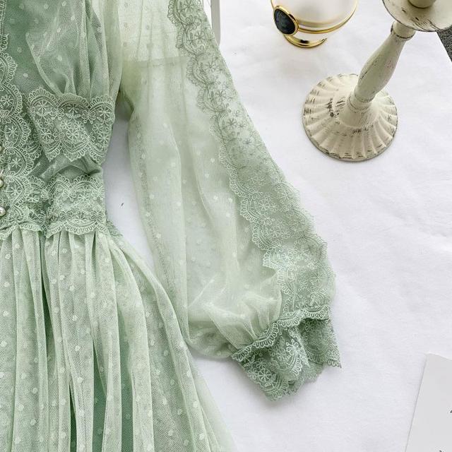 Lace Floral V Neck Long Sleeves  Polka Dot Pearls Sweet Mesh Dress 6