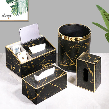 Gold marble box for laundry, napkins, office towel, protected desk with - discount item  20% OFF Home Storage & Organization
