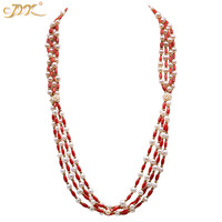 JYX Elegant Red Coral Necklace 4 strands with natural freshwater pearls 3.5*8mm women jewelry 28.5'