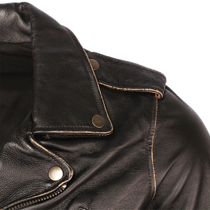 Image 3 - בציר אופנוע מעיל גברים מעילי עור עבה 100% עור פרה אמיתי עור מעיל חורף אופנוען Moto בגדי M456